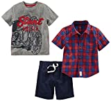 Simple Joys by Carter's Boys' Toddler 3-Piece Playwear Set, Red Plaid/Grey Motorcycle/Navy, 3T