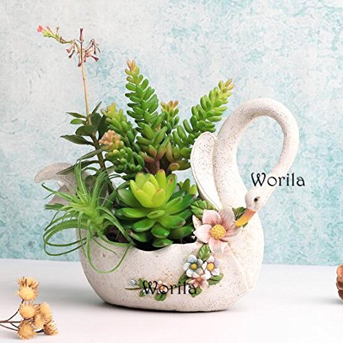 Beautiful White Swan Shape Succulent Plant Pot Modern Handmade Resin Plant Pot / Flower Pot / Plant Container / Planter