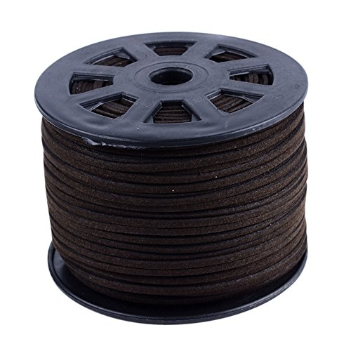 NBEADS 3mm Coconut Brown Color Micro Fiber Flat Faux Suede Leather Cords Strip Cord Lace Beading Thread Braiding String 100 Yards/Roll for Jewelry Making