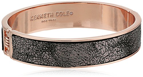 Kenneth Cole New York Bangle Bracelet - Kenneth Cole New York Supercharged Collection Women's Rose Gold Hinge with Grey Leather Bangle Bracelet