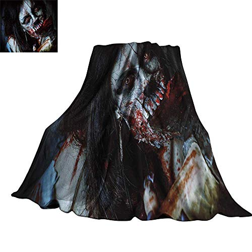 WinfreyDecor Zombie Decor Living Room/Bedroom Warm Blanket Scary Dead Woman with Bloody Axe Evil Fantasy Gothic Mystery Halloween Picture 50