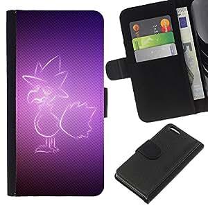 KLONGSHOP // Tirón de la caja Cartera de cuero con ranuras para tarjetas - Pájaro púrpura - Apple Iphone 5C //