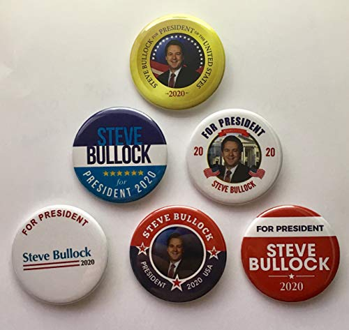 (Presidential Election Historical Center Steve Bullock 2020 Campaign Buttons - Set of 6-2.25 inches)