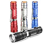 Pack of 4 Flashlights, BYBLIGHT 150 Lumens Mini LED Flashlight, Ultra Bright Adjustable Small Flashlights with Clip, 3 Modes Zoomable Light for Outdoors and Indoors (Colorful)