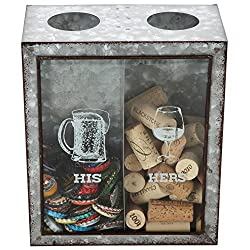 Lily's Home His and Hers Wine Cork and Beer Cap Holder, Makes The Ideal Gift for The Happy and Hydrated Couple, Galvanized Metal (7 3/8 x 4 x 8 3/4)