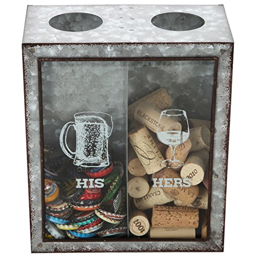 Lily's Home His and Hers Wine Cork and Beer Cap Holder, Makes The Ideal Gift for The Happy and Hydrated Couple, Galvanized Metal (7 3/8