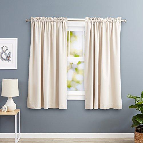 amazonbasics cortinas opacas con aislamiento trmico y alzapaos 2 unidades 117 x 137 cm color beige - Cortinas Cocina Moderna