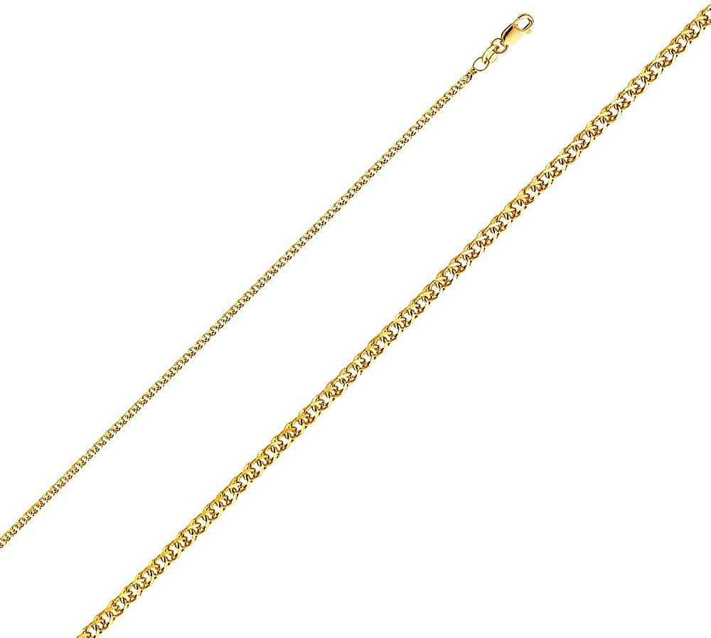 14K Yellow Gold Milagrosa Charm Pendant with 1.7mm Flat Open Wheat Chain Necklace