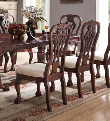 (Poundex PDEX-F1487 Marilena 2 Cherry/Cream Wood Dining Side Chairs, Multi)