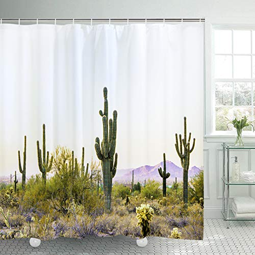 BLEUM CADE Cactus in The Desert Shower Curtain Bathroom Mountain Shower Curtain Durable Waterproof with 12 Hooks -