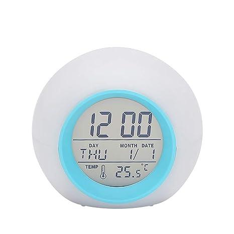 Festnight Reloj de Alarma de Mesa LED Multifuncional Cambio ...