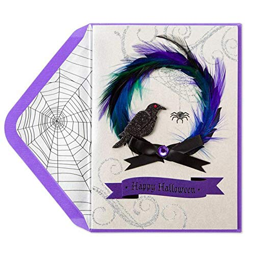 Halloween Party Greeting Card Feathered Spooky Wreath Wishing Delightful Thrills Chills Halloween Card -