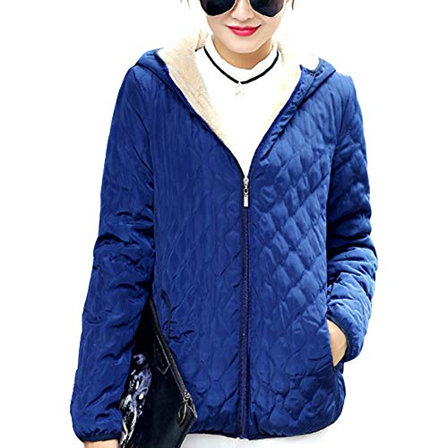 Fleece Womens XFentech Coat Jacket Outdoor Jacket Slim Outerwear Quilted Hooded Blue Coat Hq6w6R