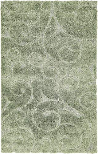 - Unique Loom Floral Shag Collection Soft Plush Modern Floral Vines Green Area Rug (5' x 8')