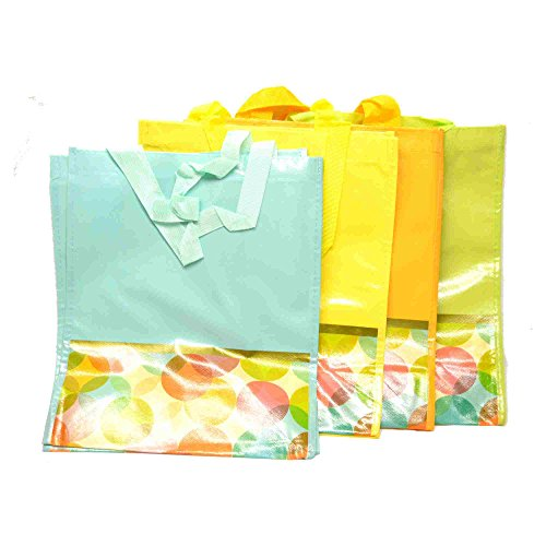 - Multi-pack of 4 Nylon-Reinforced Vinyl Reusable Foldable Shopping Tote or Grocery Bag
