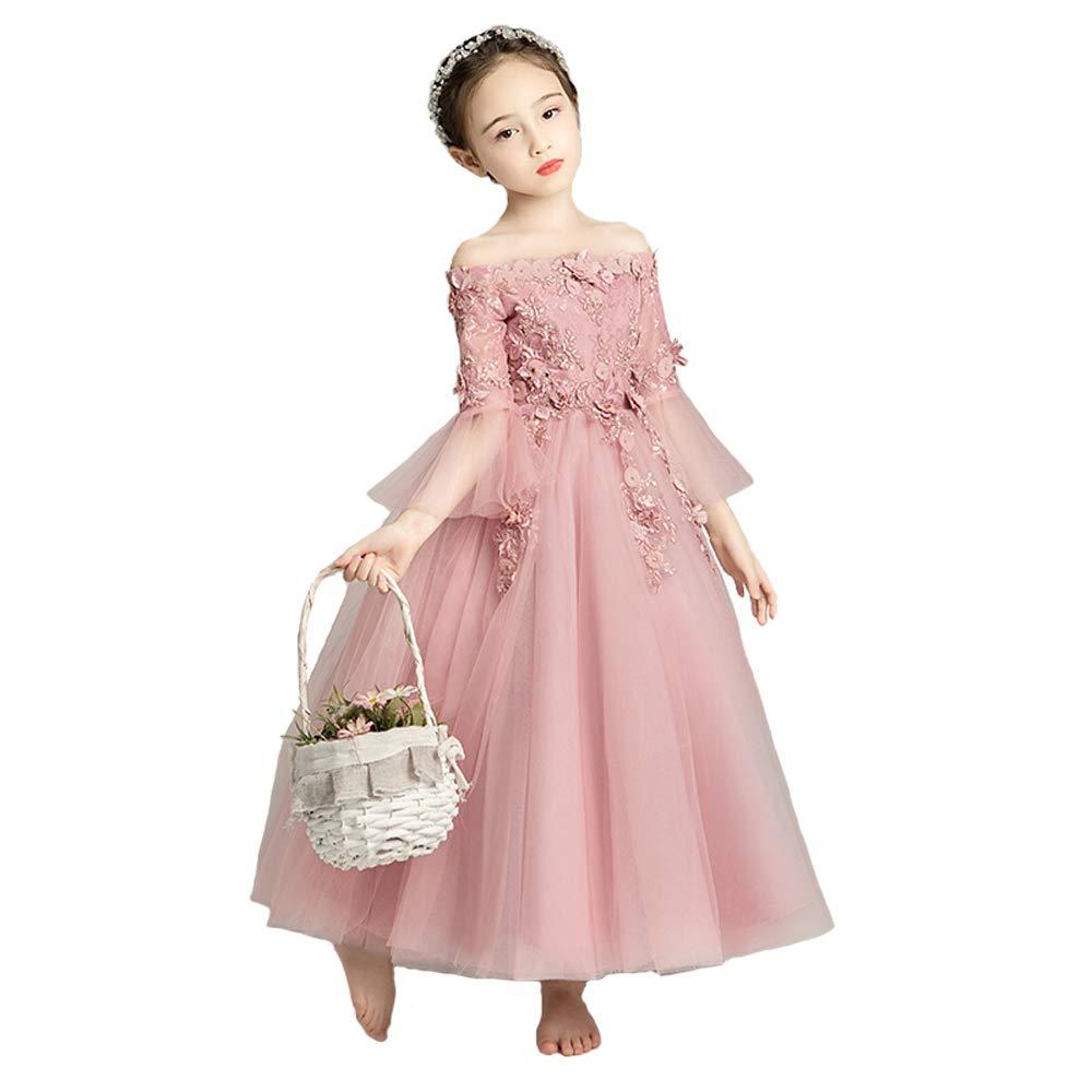 Rose 100cm HUO FEI NIAO Costume de Piano de Robe de soirée de Fille de Jupe Longue Moelleux, Couleur de pÂte de Haricot (Couleur   Rose, Taille   100cm)