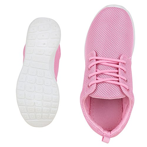 napoli-fashion Flache Unisex Damen Herren Laufschuhe Profilsohle Sportschuhe Schnüren Sneakers Freizeitschuhe VanHill Pink Pink Weiss