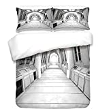 iPrint 3Pcs Duvet Cover Set,Outer Space Decor,Spacelaunch View with Hypertech Energy Stellar Extra Solar Nuclear Trip Image,White,Best Bedding Gifts for Family/Friends