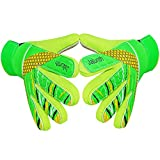 Jalunth Goalkeeper Goalie Soccer Gloves - Kids & Youth Football Goal Keeper Gloves with Embossed Anti-Slip Latex Palm and Soft PU Hand Back (Green, 5)