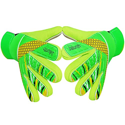 Goalkeeper Goalie Soccer Gloves - Kids & Youth Football Goal Keeper Gloves with Embossed Anti-Slip Latex Palm and Soft PU Hand Back (Green, 7.1)