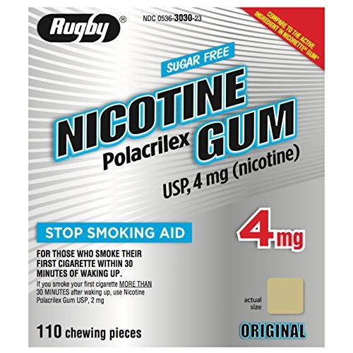 RUGBY SUGAR-FREE NICOTINE GUM 4MG - ORIGINAL - 110 PIECES -