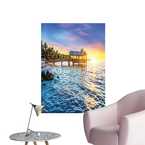 Jaydevn United States Stickers Wall Murals Decals Removable Pier at Beach in Key West Florida USA Tropical Summer Paradise Simple European Style Light Blue Yellow Green W20 x H28 ()
