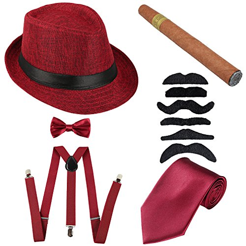 1920s Mens Accessories Hard Felt Panama Hat, Y-Back Suspenders & Pre Tied Bow Tie, Tie,Toy Cigar & Fake Mustache (OneSize, 1Burgundy) -