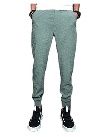 Tootless Men Thin Linen Cotton Tenths Pants Pure Color Summer