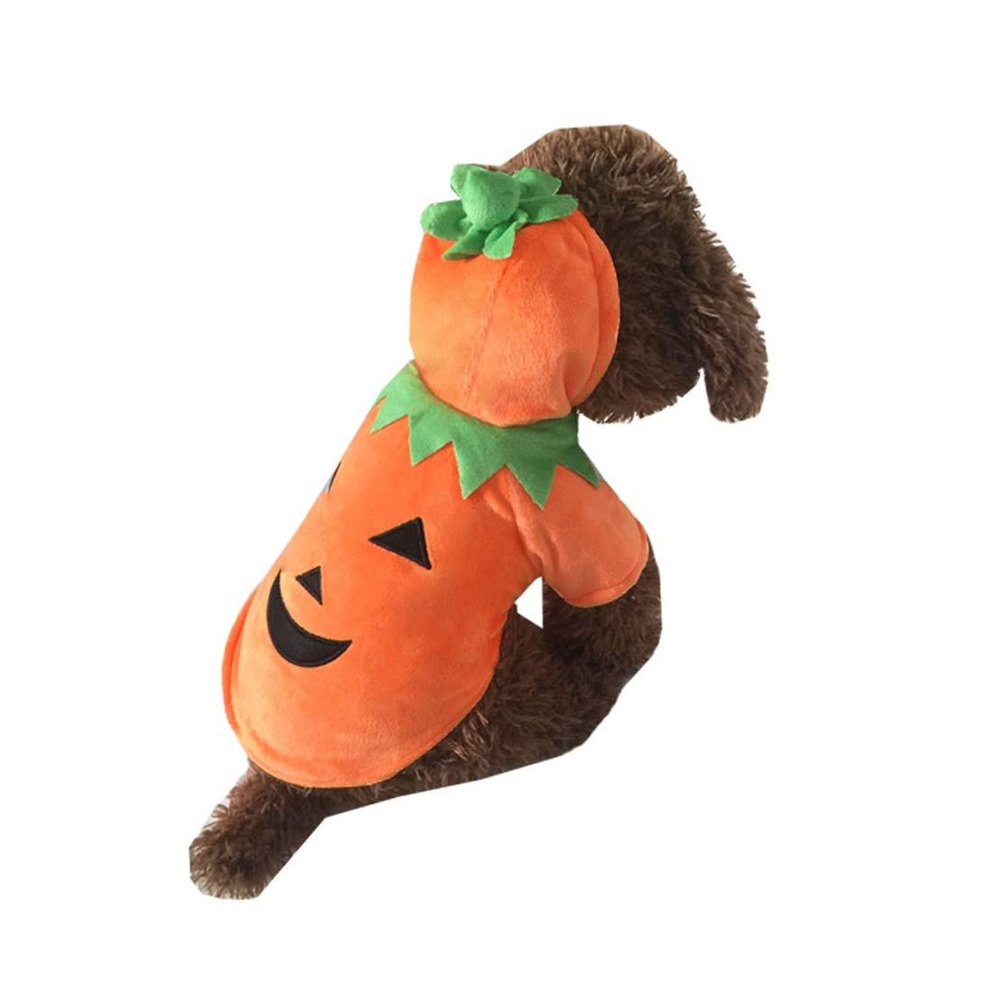 orange XS orange XS AUSWIEI Pet Clothes Halloween Big Dog Clothes Pumpkin Dress Cosplay Large Dog Clothes (color   orange, Size   XS)