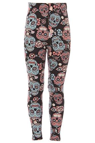 iZZYZX Kid's Black Sugar Skull Pattern Printed Leggings - S/M