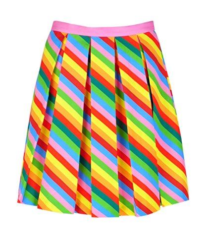 Pleated Skirt Satin Mini - Get The Looks Rainbow Neon Stripe Pleated Mini Skirt (6)