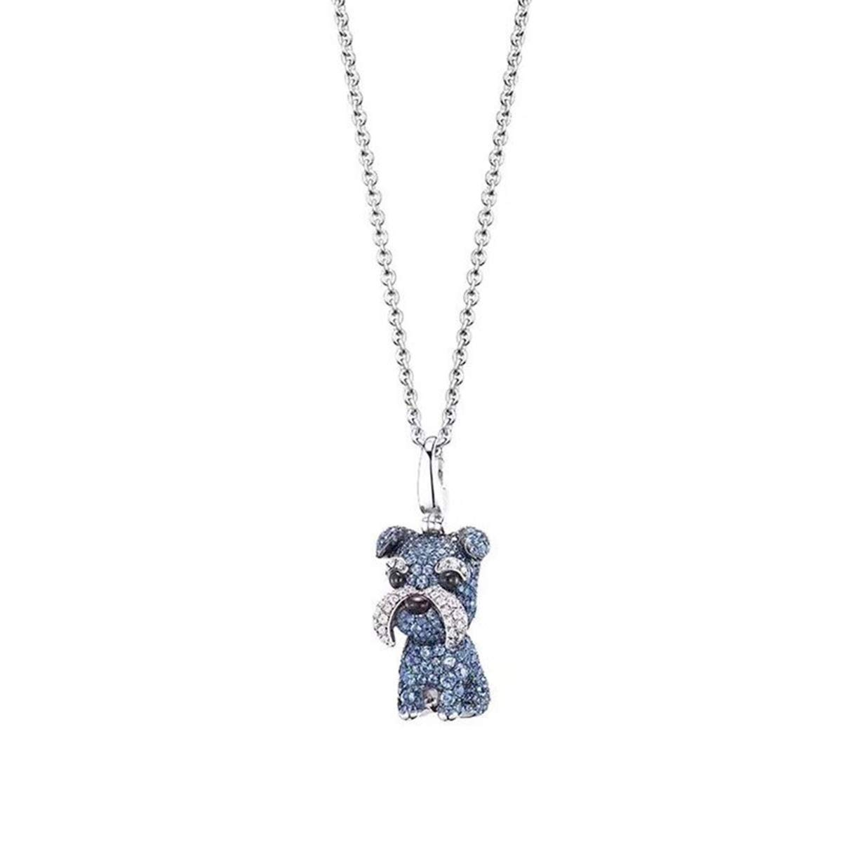 Onlyfo 925 Silver Schnauzer Dog Pave Crystal Pendant Necklace with Jewelry Box,Dog Necklace for Women (Blue)