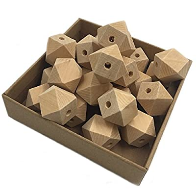 Wendysun 12mm 100pcs Natural Organic Maple Unfinished Hexagon Geometric Wooden Beads DIY Polyhedron Cube Beads Accessories&Crafts Baby Teether Hanging Materials Wooden Teether: Arts, Crafts & Sewing
