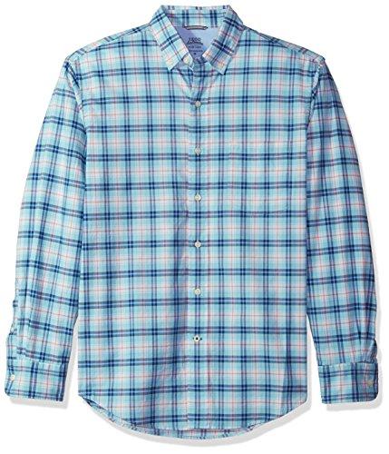 Button Down Long Sleeve Oxford Shirt - IZOD Men's Oxford Plaid Long Sleeve Shirt, Gulf Stream, X-Large