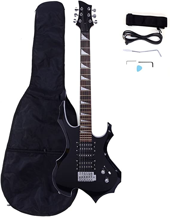 Rose Wood Fingerboard Burning Fire Style Electric Guitar + Bag + Strap + Pick + Handle + Cable + Wrench tool (Black)