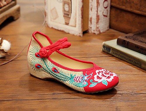 Lazutom - Bailarinas de algodón para mujer Red