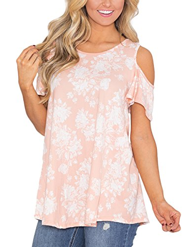 Ackkia Womens Pink Casual Floral Print Cold Shoulder Cut Out Short Sleeve Blouse Shirt Top Size Xxl