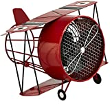Deco Breeze Red Biplane Figurine Fan