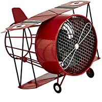 DecoBREEZE Table Fan Single-Speed Electric Circulating Fan, Red Biplane Figurine Fan