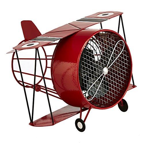 (DecoBREEZE Decorative Table Fan, Desk Fan, Single Speed Electric Tabletop Fan, Figurine Fan, 4 inch, Red Biplane)