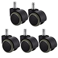 PChero 5 Packs Office Chair Casters Wheels with Universal Standard Size 11mm Stem Diameter and 22mm Stem Length (0.43inch X 0.86inch), Support up to 550LBs Weight
