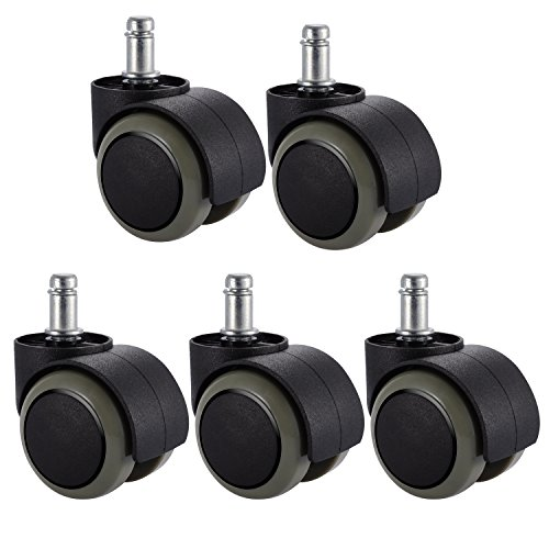 (PChero 5 Packs Office Chair Casters Wheels with Universal Standard Size 11mm Stem Diameter and 22mm Stem Length (0.43inch X 0.86inch), Support up to 550LBs Weight)
