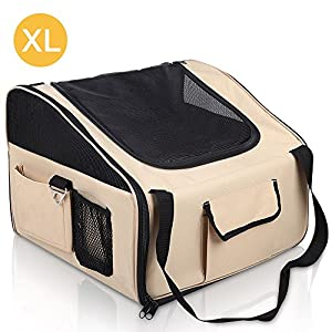 iPET Pet Carrier Dog Cat Car Booster Seat Soft Crate Portable Cage Travel Bag XL Click on image for further info.