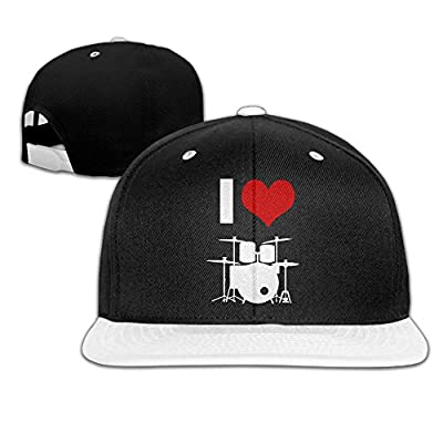 I Love Drums Heart Unisex Hip Hop Flat Bill Snapback Hats Adjustable Baseball Cap for Girls