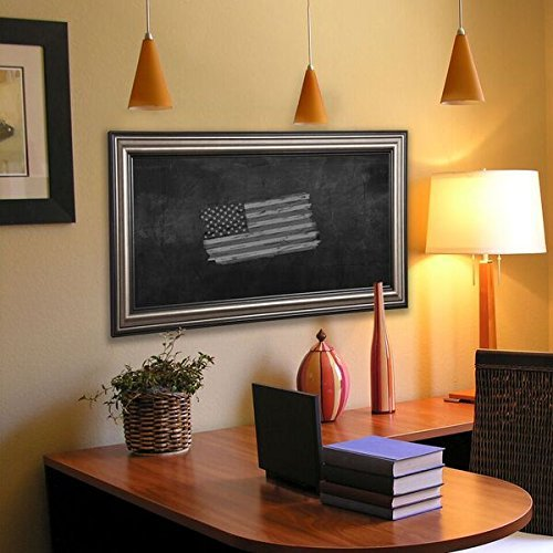 """UPC 602003491757, Rayne Mirrors American Made Antique Blackboard/Chalkboard, 48"""" X 54"""""""", Silver/black with Natural Wood Imperfections for Character Finish"""