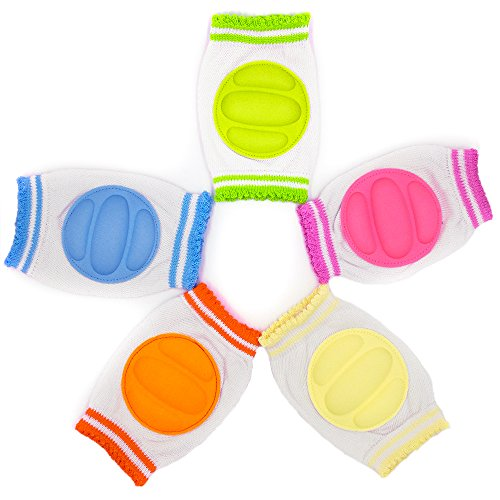 Baby Knee Pads, Maberry Unisex Elastic Knee Elbow Pads for crawling Adjustable Breathable Waterproof Safety Protector for Toddlers, Infants, Boys, Girls, Kids - Multi Color 5Pack (Light Colorful)