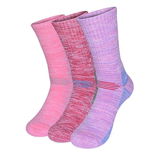 Vintage Mens Snowboard Boots - Women Outdoor athletic sports cotton winter Crew socks cushion 3 pairs (Pink/Red/Purple)