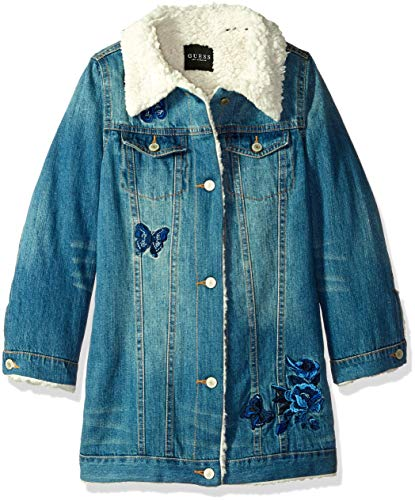 Guess Girls' Big Faux-Fur Trim Denim Jacket, Pulled Blue wash, 7