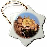 3dRose Danita Delimont - Spain - Spain, Mallorca, Palma de Mallorca. La Seu Cathedral at dusk. - 3 inch Snowflake Porcelain Ornament (orn_277910_1)