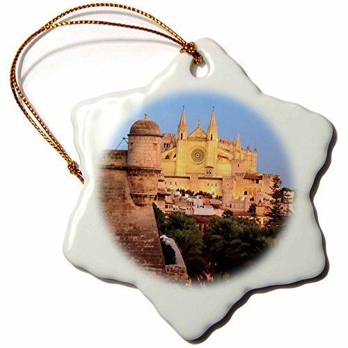 3dRose Danita Delimont - Spain - Spain, Mallorca, Palma de Mallorca. La Seu Cathedral at dusk. - 3 inch Snowflake Porcelain Ornament (orn_277910_1) by 3dRose